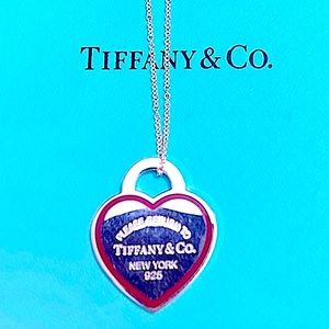 RARE Large  Tiffany Red Border Heart Tag Necklace